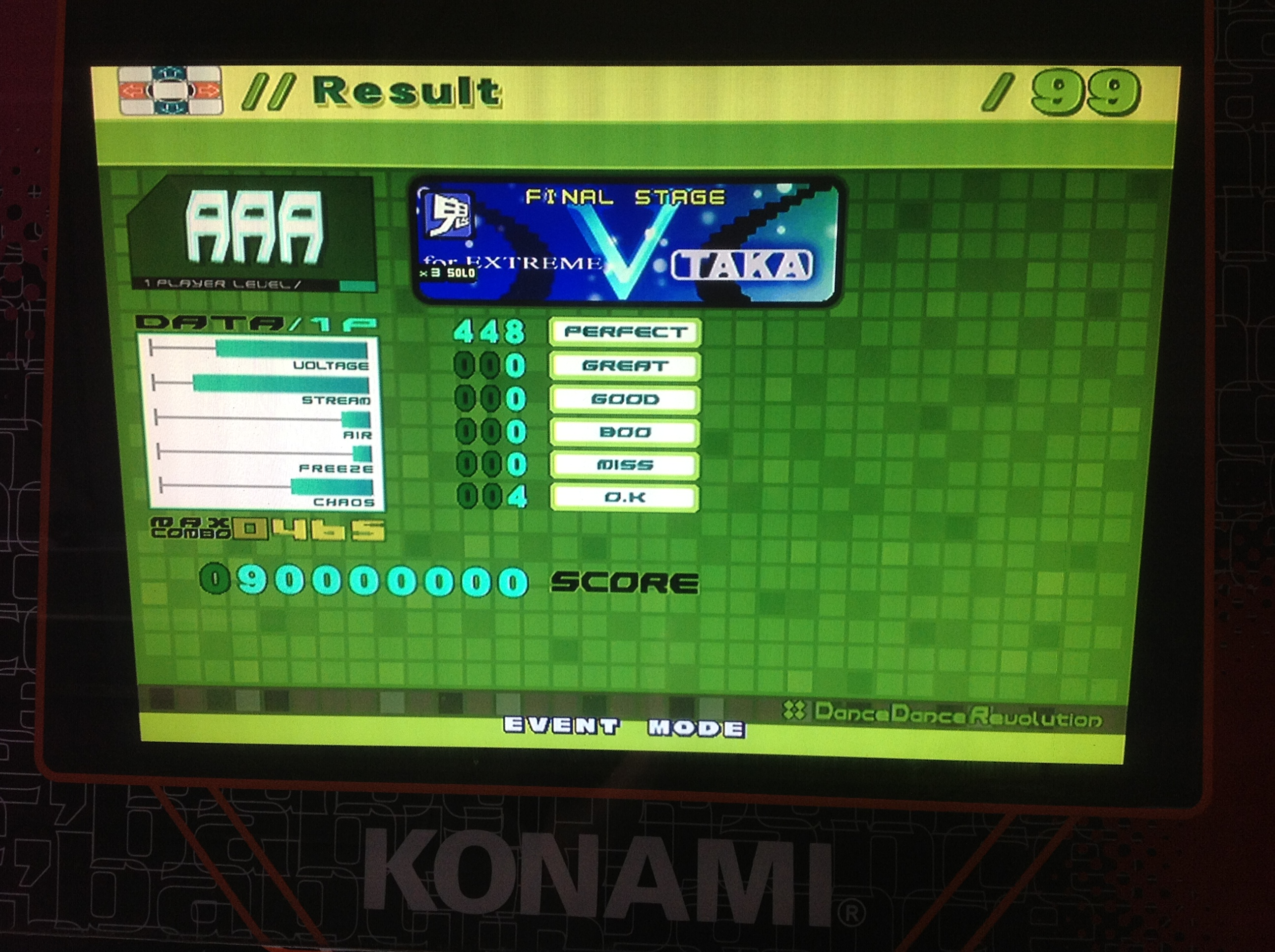 Kon - V (for EXTREME) (Challenge) AAA on DDR EXTREME (Japan)