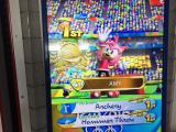 Amy victorious in arcade game